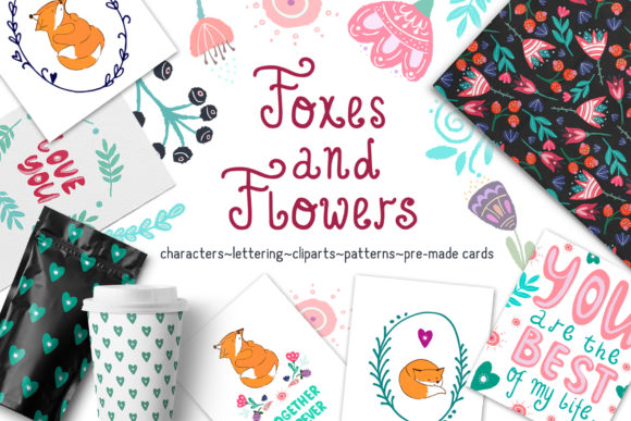Foxes and Flowers Collection Graphic Illustrations By Vera Vero