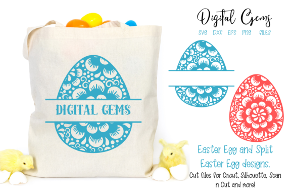Download Free Full And Split Easter Egg Designs Graphic By Digital Gems for Cricut Explore, Silhouette and other cutting machines.