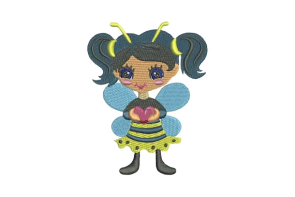 Girly Bee with a Heart Boys & Girls Embroidery Design By Embroidery Designs - Image 1
