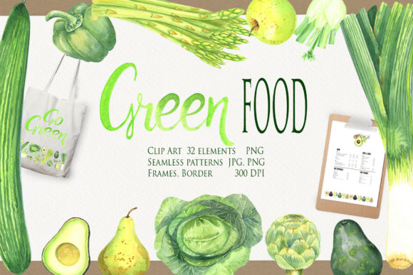 Green Food Clip Art Graphic Illustrations By evgenia_art_art