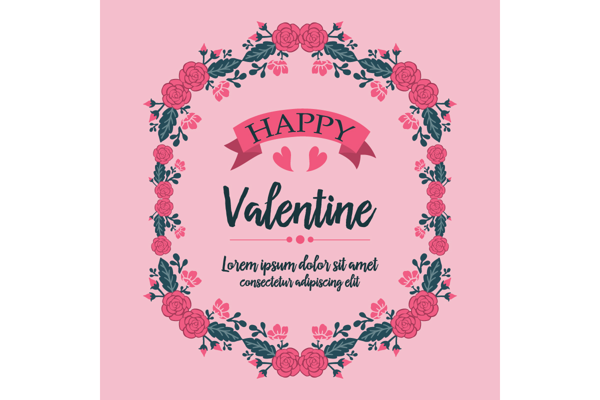 happy valentine greeting card template graphic