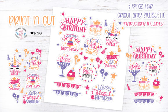 Print on Demand: Kids Birthday Party Sticker Graphic Illustrations By GraphicHouseDesign