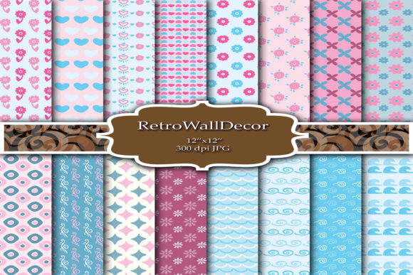 Print on Demand: Kids Digital Papers Graphic Backgrounds By retrowalldecor