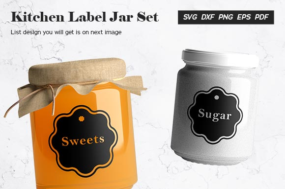 Download Free Kitchen Label Jar Set Graphic By Abdie Creative Fabrica for Cricut Explore, Silhouette and other cutting machines.