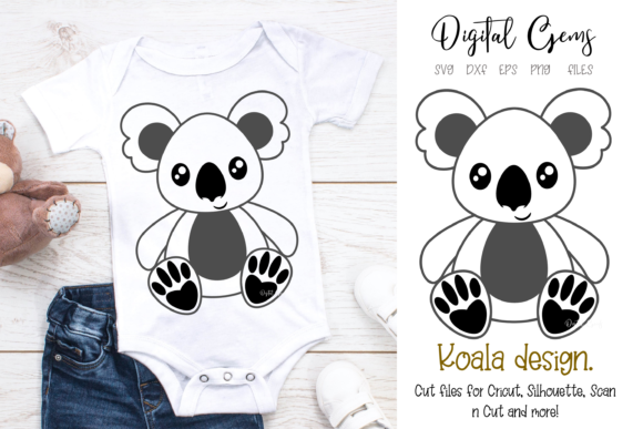 Download Free Koala Design Graphic By Digital Gems Creative Fabrica for Cricut Explore, Silhouette and other cutting machines.