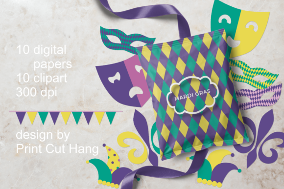 Download Free Madri Gras Clipart Papers Set Graphic By Print Cut Hang for Cricut Explore, Silhouette and other cutting machines.