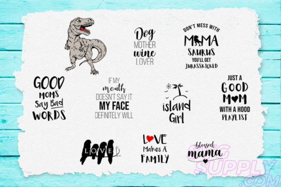 Print on Demand: Mamasaurus Bundle Graphic Print Templates By svgsupply