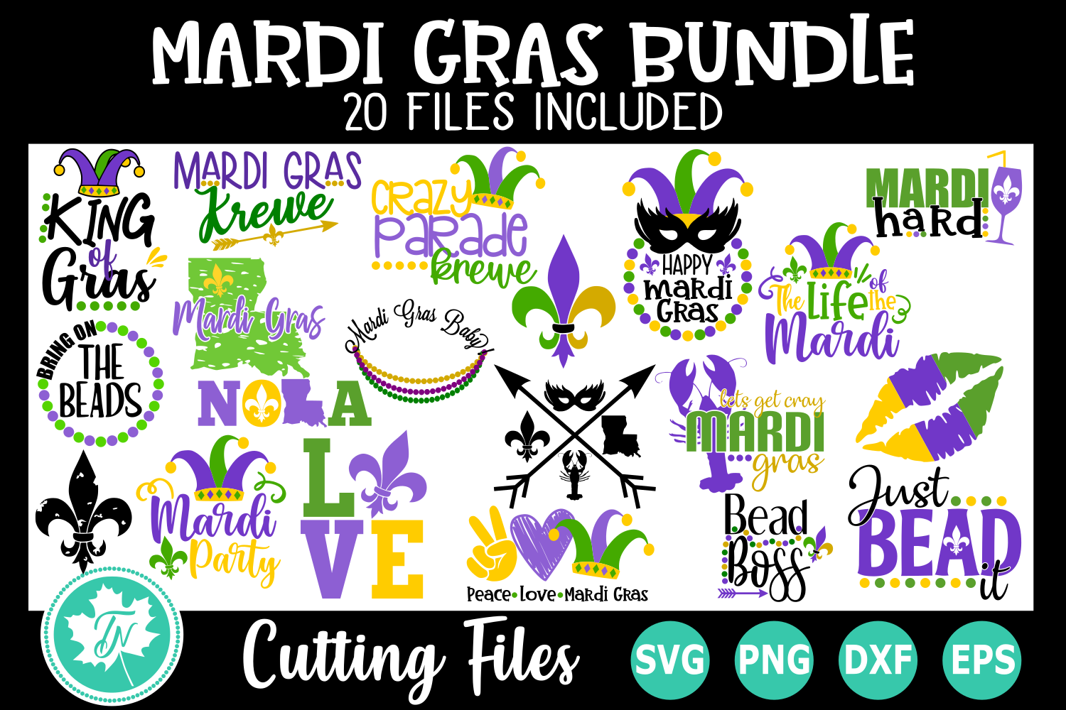 Download Free Mardi Gras Bundle Graphic By Truenorthimagesca Creative Fabrica for Cricut Explore, Silhouette and other cutting machines.