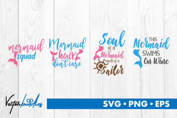Print on Demand: Mermaid Quotes Graphic Crafts By vectorbundles