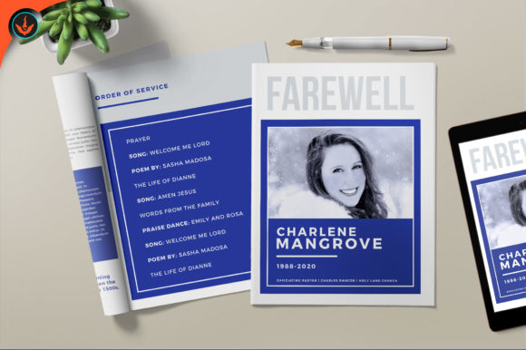 Download Free Minimal Blue Funeral Program Graphic By Seraphimchris Creative for Cricut Explore, Silhouette and other cutting machines.