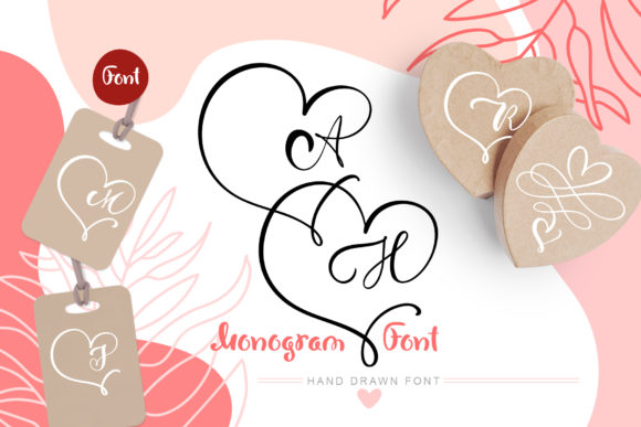 Print on Demand: Monogram Font Display Schriftarten von Happy Letters
