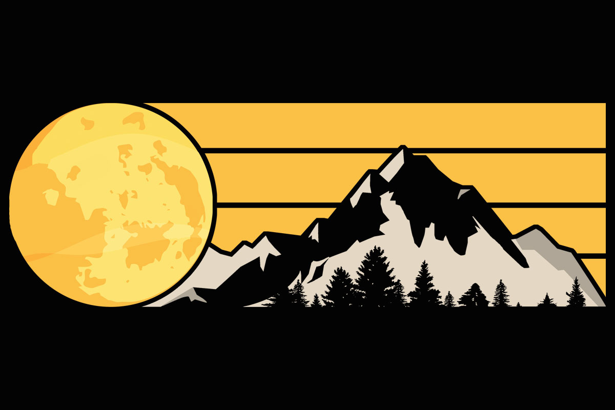 Download Free Moon Mountain Tree Retro Yellow Clipart Graphic By Sunandmoon for Cricut Explore, Silhouette and other cutting machines.