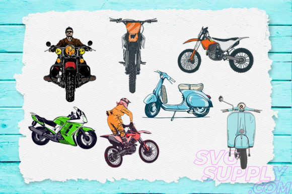 Print on Demand: Motorcycle Bundle Graphic Print Templates By svgsupply