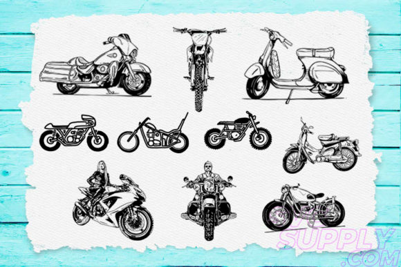 Print on Demand: Motorcycle Lineart Bundle Graphic Print Templates By svgsupply