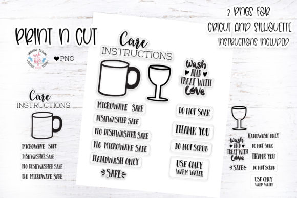 Print on Demand: Mug and Wine Glass Wash Instruction Graphic Illustrations By GraphicHouseDesign