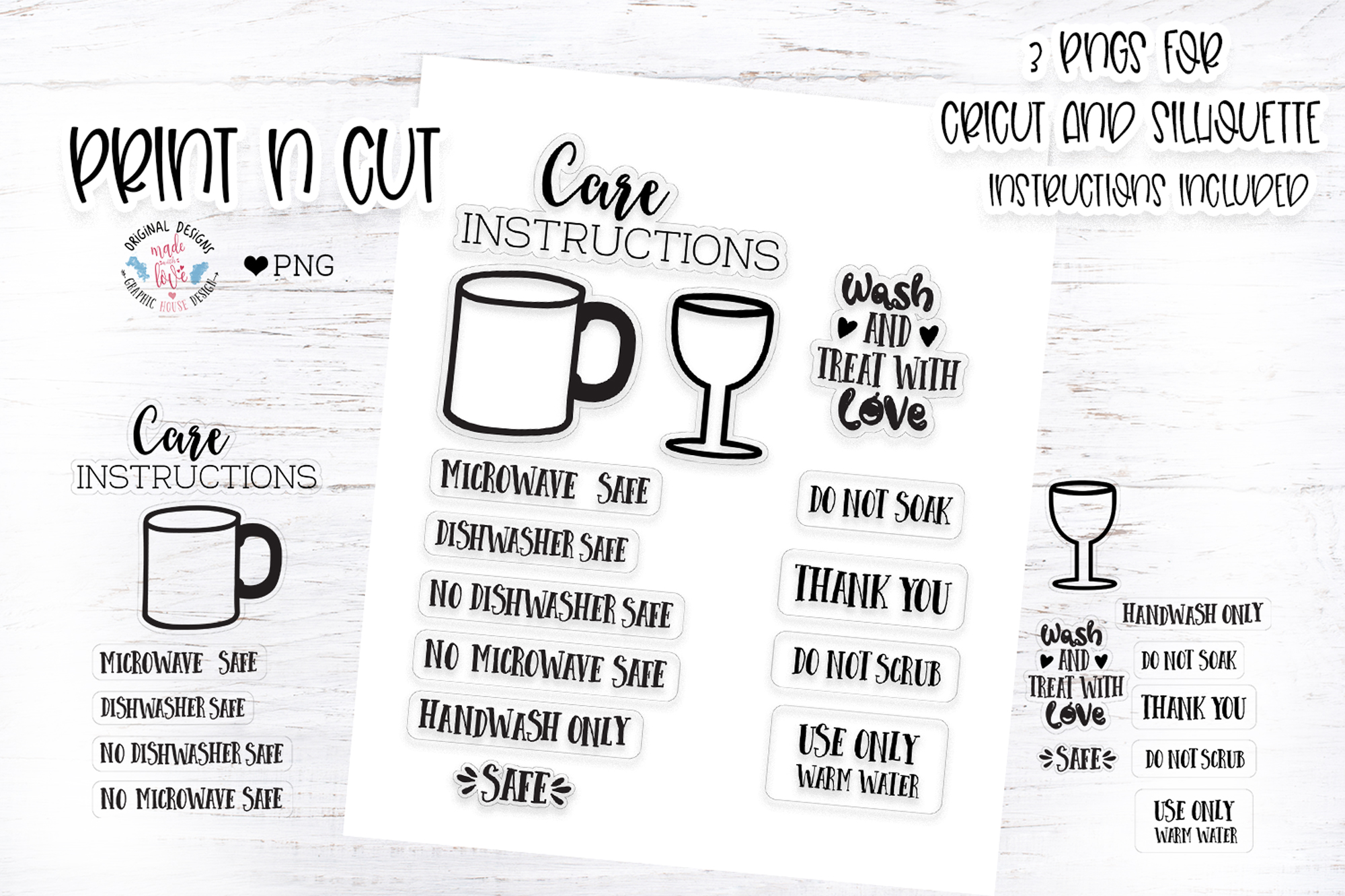 Mug And Wine Glass Wash Instruction Graphic By