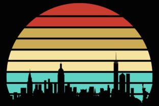 Download Free Nyc Skyline Retro Vintage Sunset Clipart Graphic By Sunandmoon for Cricut Explore, Silhouette and other cutting machines.
