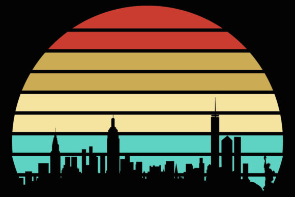 Print on Demand: NYC Skyline Retro Vintage Sunset Clipart Graphic Illustrations By SunandMoon