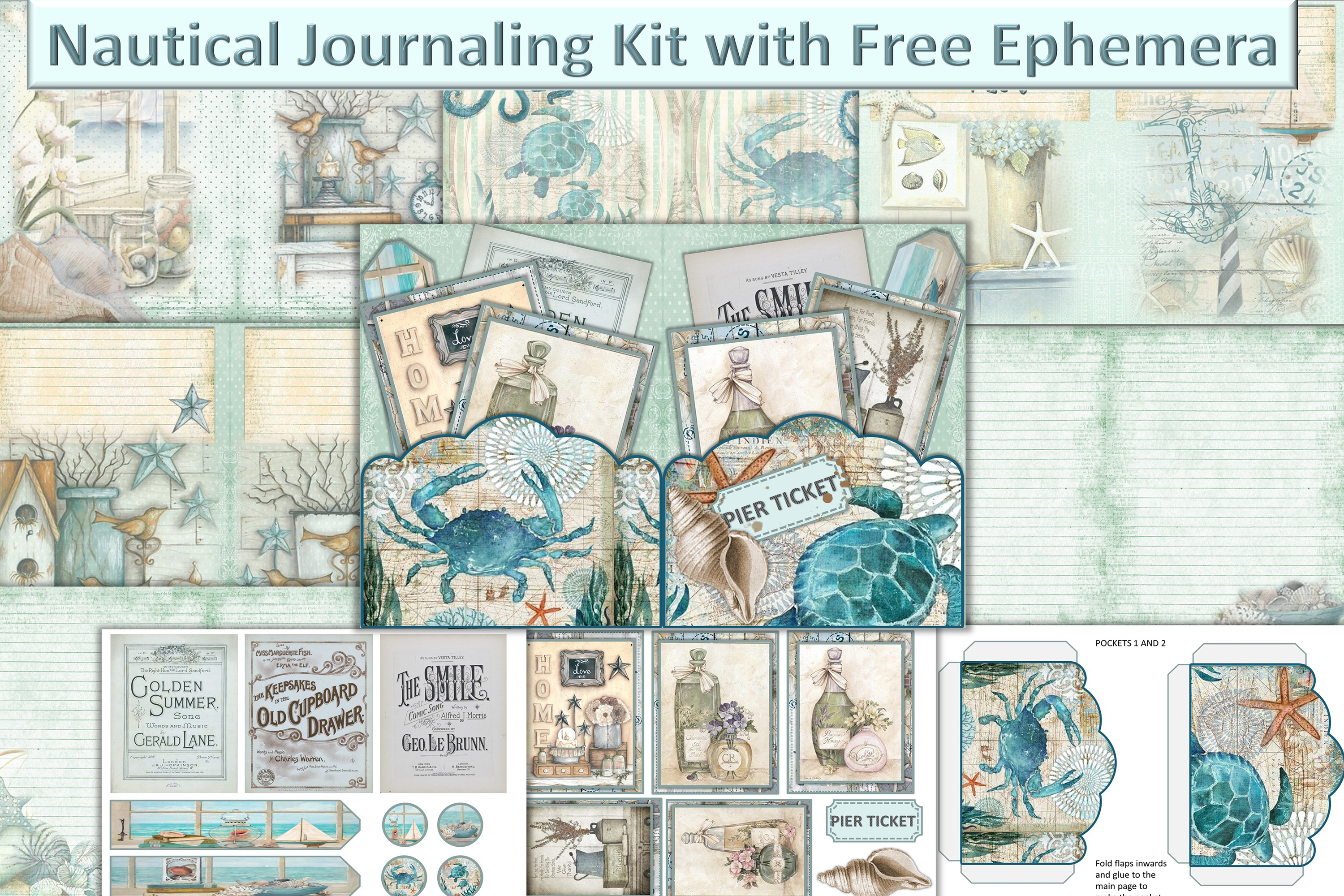 Download Free Nautical Journaling Kit Graphic By The Paper Princess Creative for Cricut Explore, Silhouette and other cutting machines.