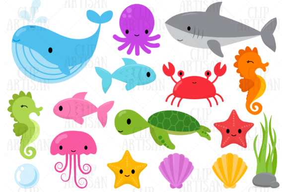 Ocean Creatures Graphic Illustrations By ClipArtisan