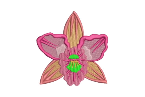 Orchid Single Flowers & Plants Embroidery Design By Embroidery Designs