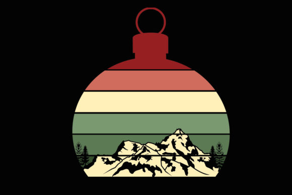 Print on Demand: Sunset Mountain Xmas Ornament Clipart Graphic Illustrations By SunandMoon