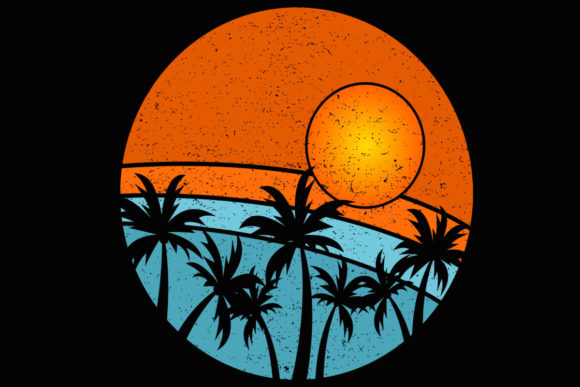 Print on Demand: Palm Trees Beach Retro Sunset Clipart Graphic Illustrations By SunandMoon