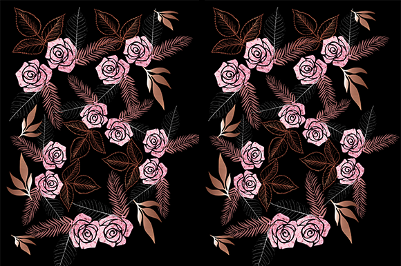 Print on Demand: Pink & Bronze Floral Print Graphic Patterns By arts4busykids