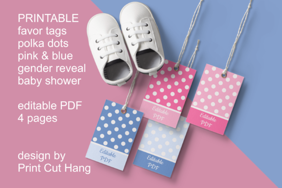 Pink And Blue Baby Shower Gift Tags Graphic By Print Cut Hang