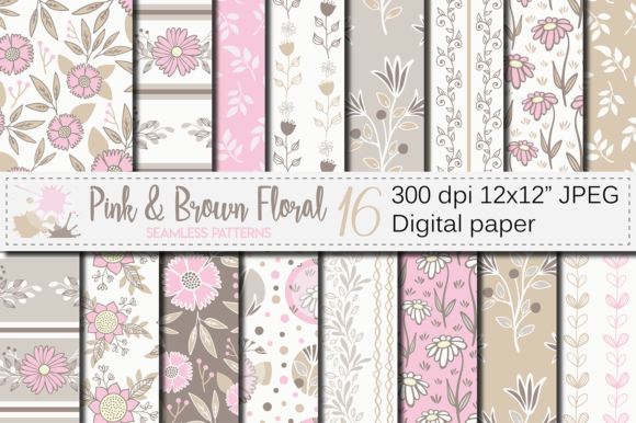 Pink and Brown Floral Seamless Patterns Graphic Patterns By VR Digital Design