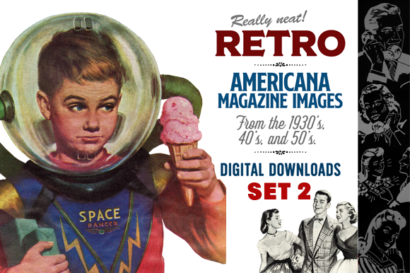 Retro Americana Magazine Images Grafik Illustrationen von Sensible Eye