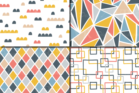 Download Free Retro Geometric Seamless Patterns Graphic By Vr Digital Design for Cricut Explore, Silhouette and other cutting machines.