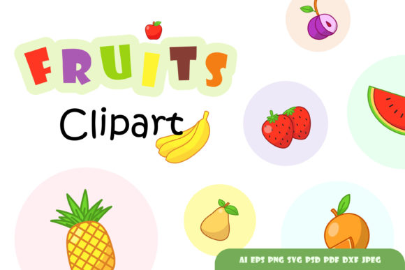 Download Free Set Of Colourful Fruits Clipart Graphic By Aghadhia Studio for Cricut Explore, Silhouette and other cutting machines.