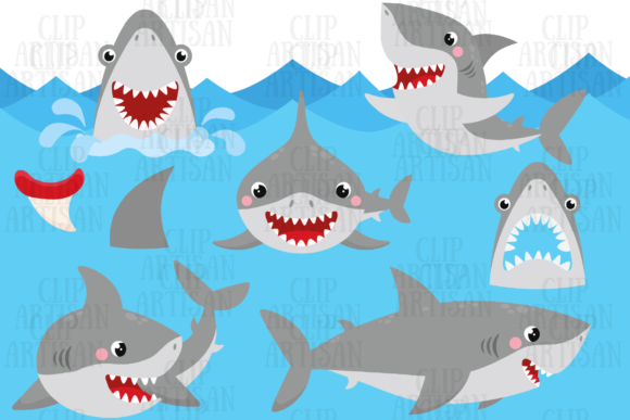 Shark Party Graphic Illustrations By ClipArtisan