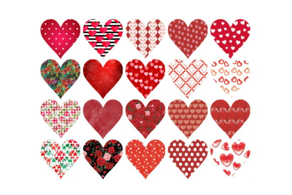 Print on Demand: Sheet of 20 Small Valentine's Hearts Graphic Illustrations By Scrapbook Attic Studio