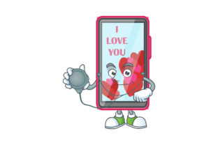 Download Free Smartphone Love Cartoon Character Style Grafico Por for Cricut Explore, Silhouette and other cutting machines.