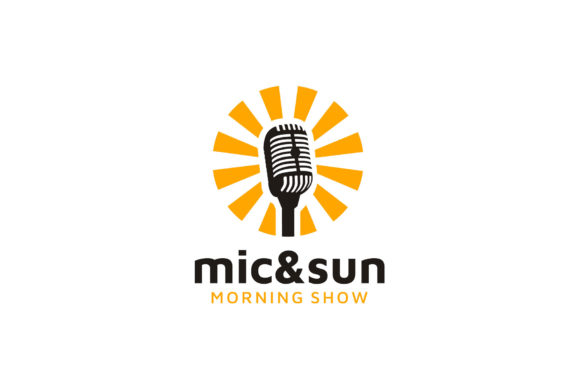 Download Free Sun Mic Microphone Morning Podcast Logo Graphic By Enola99d for Cricut Explore, Silhouette and other cutting machines.