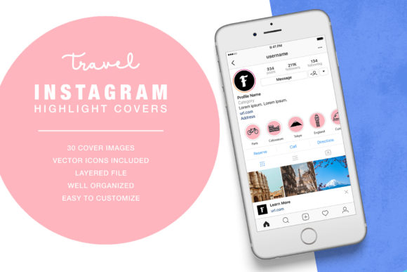 Travel Instagram Highlight Cover Graphic UX and UI Kits By formatikastd