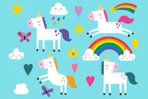 Unicorns Clip Art Graphic Illustrations By ClipArtisan