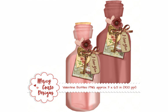 Valentine Bottles Clipart Graphic Illustrations By MarcyCoateDesigns