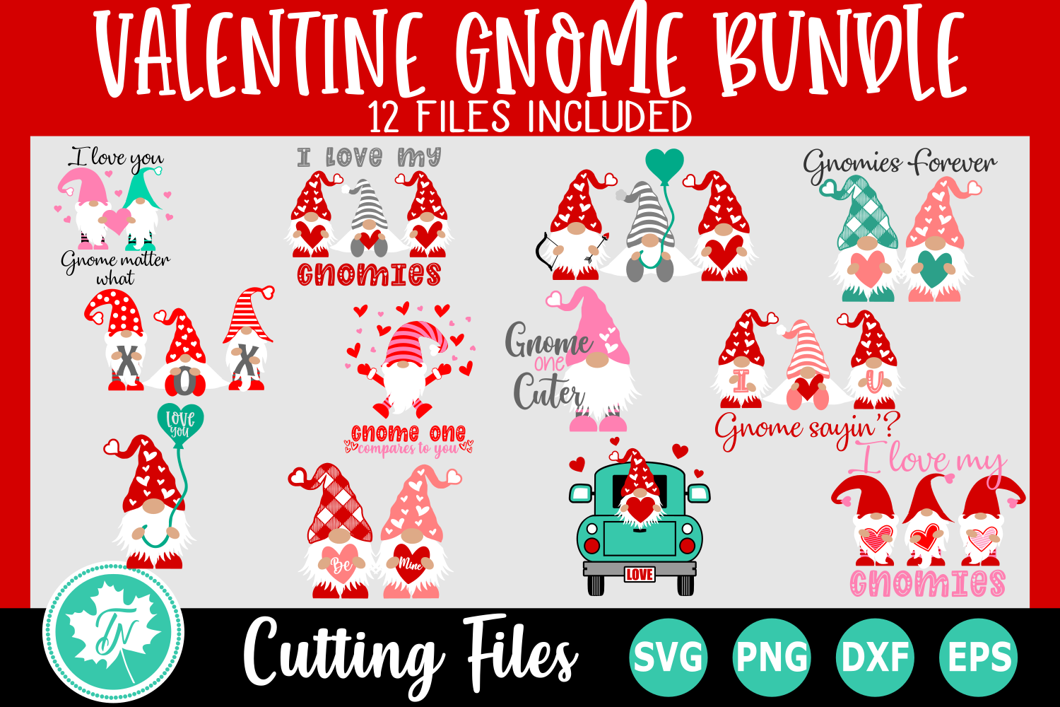 Download Free Valentine Gnome Bundle Graphic By Truenorthimagesca Creative Fabrica for Cricut Explore, Silhouette and other cutting machines.