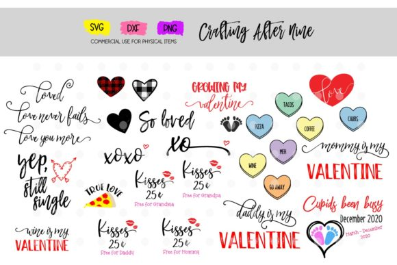 Download Free Valentine S Day Bundle Graphic By Crafting After Nine Creative for Cricut Explore, Silhouette and other cutting machines.