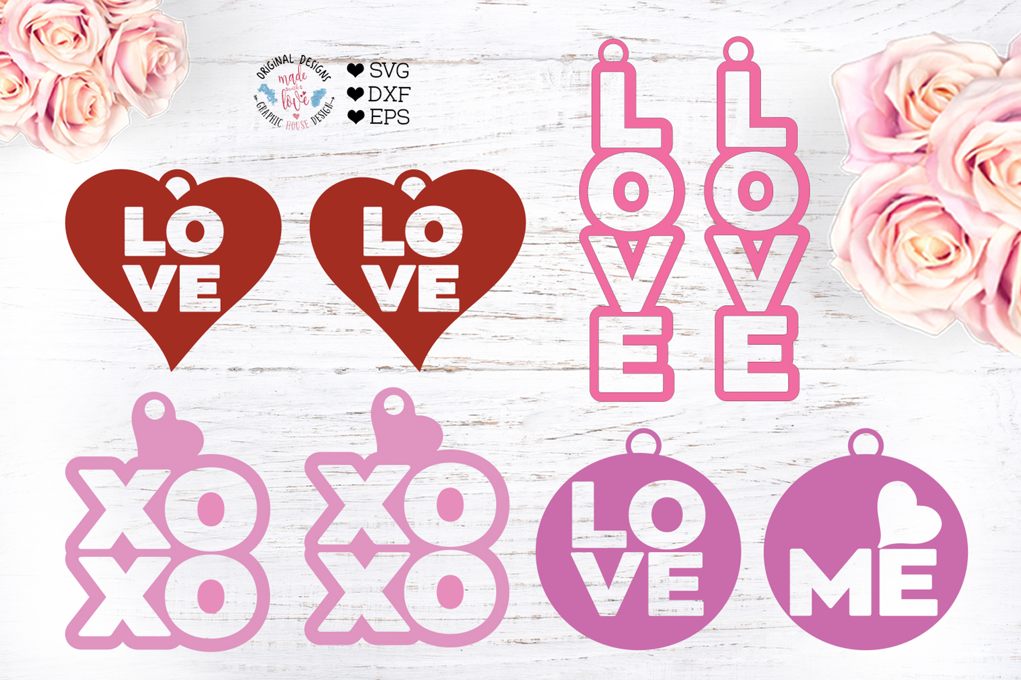 Download Free Valentine S Earrings Graphic By Graphichousedesign Creative for Cricut Explore, Silhouette and other cutting machines.