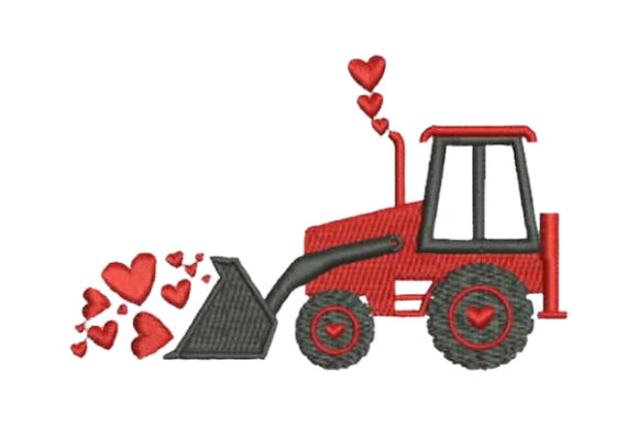Valentine's Tractor Valentine's Day Embroidery Design By Embroidery Designs