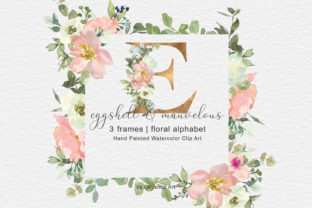 Watercolor Floral Frames and Alphabet Graphic Illustrations By Patishop Art