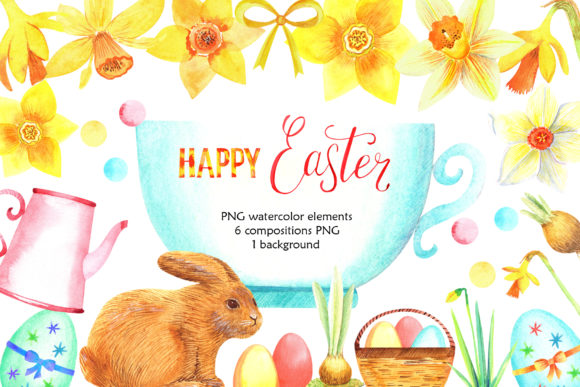 Download Free Watercolor Happy Easter Graphic By Evgenia Art Art Creative SVG Cut Files