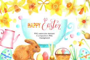 Download Free Watercolor Happy Easter Graphic By Evgenia Art Art Creative for Cricut Explore, Silhouette and other cutting machines.