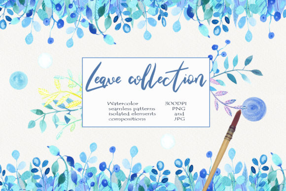 Print on Demand: Watercolor Leaf Collection Clip Art Graphic Illustrations By evgenia_art_art
