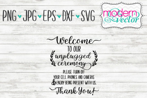 Download Free Wedding Unplugged Text Graphic By Modern Vector Creative Fabrica for Cricut Explore, Silhouette and other cutting machines.