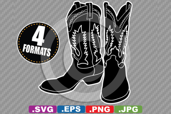 Download Free Western Cowboy Cowgirl Boot Silhouette Graphic By for Cricut Explore, Silhouette and other cutting machines.
